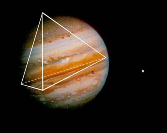 """""""Schema energetico tetraedrico"""" risonante all'interno di Giove, che produce il Grande Punto Rosso (Hoagland)"""
