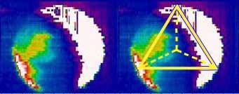 Luminosità verde di Venere (s) e Geometria Tetraedrica (d). (Bailey/AAO/Wilcock)