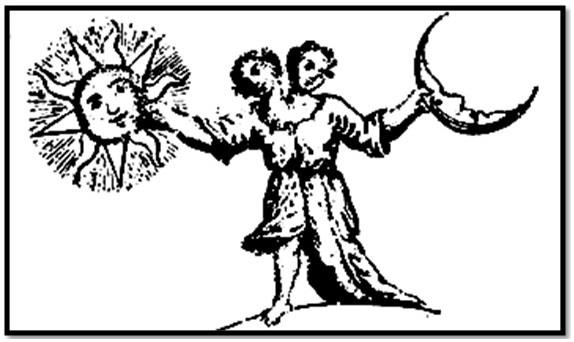 Christian Androgynes (alchemico), XVII e XVIII secolo.  Qui, l'icona ha due teste, un maschio, una femmina.  sole nella mano destra, la luna nella mano sinistra.