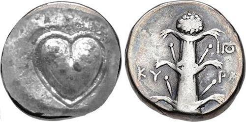 la forma del cuore sulla moneta