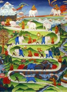 Un dipinto che illustra la via per raggiungere il Nirvana