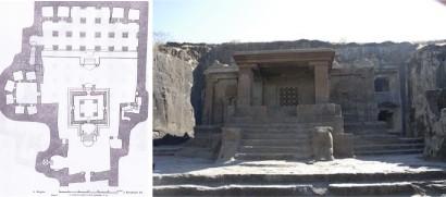 Ellora - Caverna dei Dieci Avatar - Planimetria pt ed ingresso
