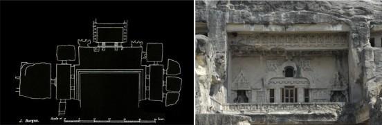 Ellora - Tempio Vishvakarma - Planimetria e facciata p2°