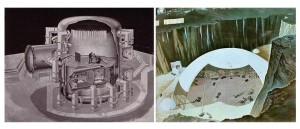 basemilitare lunare (sinistra)e base sotto una cupola(destra) -illustrazione di Roy G. Scarfo, © Scarfo Studio