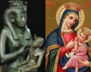 Due immagini simili: Iside con il fanciullo divino e la Vergine Maria con Gesù bambino. Secondo alcuni studiosi, Matteo avrebbe preso dagli Egizi il mito di Iside per trapiantarlo nella mitologia cristiana.