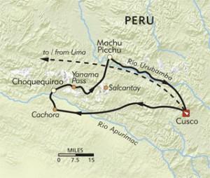 Mappa per Choquequirao