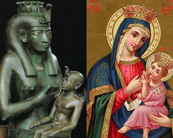 Iside allatta Horus - Maria allatta Gesù