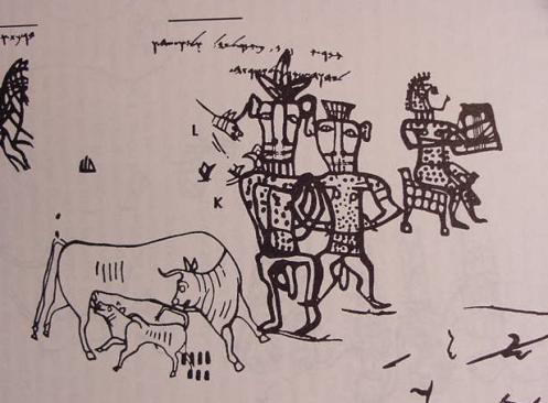 """Disegno ed iscrizione dal pithos A di Kuntillet `Ajrud (prima metà VIII sec.a.C.) Il disegno è stato ritrovato sui frammenti ceramici di un pithos venuto alla luce tra le rovine di Kuntillet `Ajrud (caravanserraglio? fortezza? centro di carattere religioso?) nel deserto del Sinai, durante la campagna di scavi del 1975-1976. L'iscrizione sopra la testa della figura umana recita:L. 1: 'MR '[ŠYW] H[ML]K. 'MR LYHL[L'] WLY'WŠH W[ ] BRKT 'TKM; L. 2: LYHWH ŠMRN WL'ŠRTH """"Dice '[šyhw?] [il re?]: di' a Yhl[…] e a Yw'šh e […] vi benedico da parte di Yhwh di Samaria e della sua Ašerah"""""""