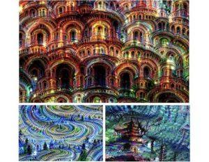Altre immagini prodotte da Deep Dream, questa volta a partire da rumore di fondo (Cortesia Google)