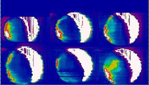 Luminosità notturna verde di Venere, ANU 2.3m CASPIR, 20-26 Sett. 2002 (Jeremy Bailey / AAO)