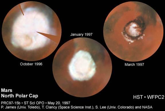 """Ritiro Della Calotta del Polo Nord di Marte, Che Mostra Una """"Struttura D'Onda"""" Esagonale"""