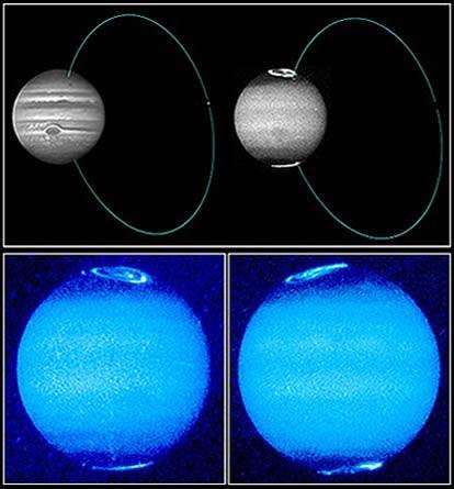 Le Aurore di Giove e la loro formazione anulare con Io. (NASA/HST 1995)