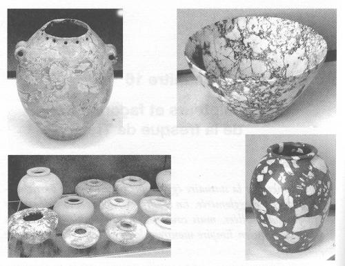 Foto estratta dal libro di Davidovits. Vasi in pietra dura 3500 av. GC, museo del Louvre.