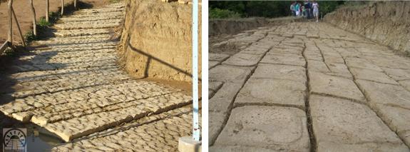 Due esempi di pavimentazioni che compongono la Piramide della Luna