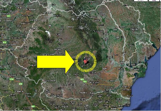 La posizione della base aliena, sulla carta della Romania