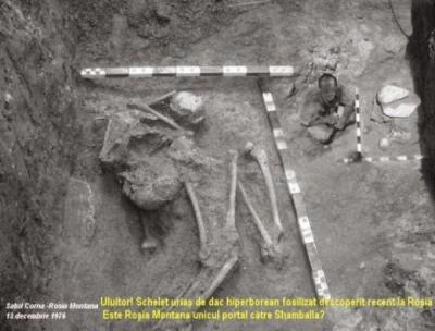 Immagine di uno scheletro gigante effettivo portato alla luce nel 1970 all'interno di una miniera d'oro in Romania, a Rosia Montana