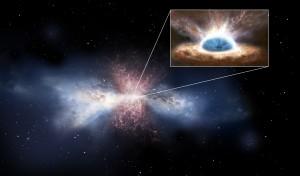 Rappresentazione artistica della galassia IRAS F11119+3257 e, nel dettaglio, del suo buco nero centrale. Crediti: ESA/ATG medialab