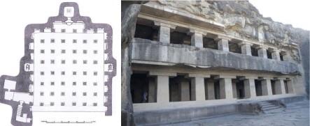 Ellora - Caverna dei Dieci Avatar - Planimetria e facciata p2°