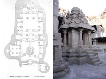 Ellora - Grotta 32 - Planimetria ed ingresso Tempio