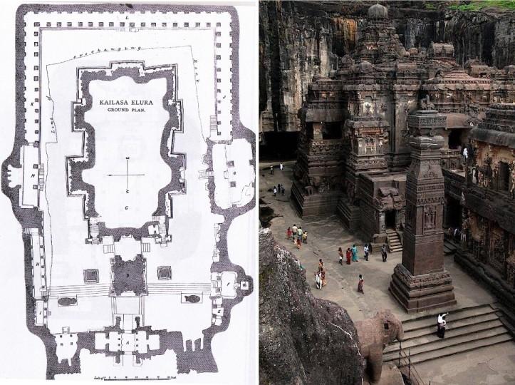 Ellora - Tempio Kailasha - Planimetria pt e panoramica