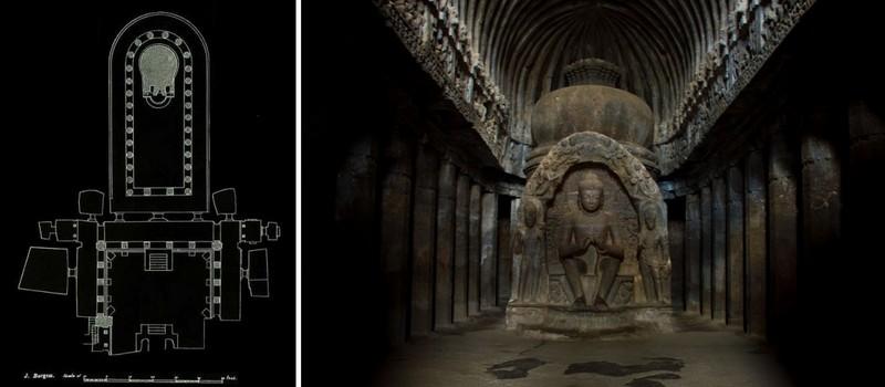 Ellora - Tempio Vishvakarma - Planimetria pt ed interno del Tempio