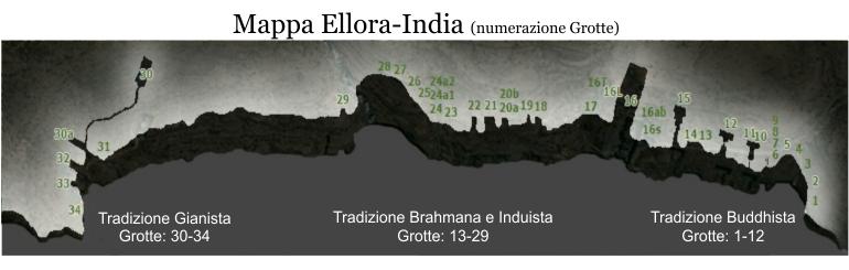 Ellora mappa numerazione grotte