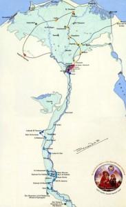Cartina del viaggio della Sacra Famiglia in Egitto
