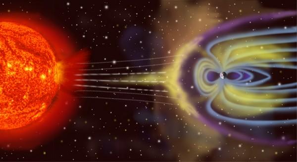 rappresentazione artistica vento solare campo magnetico