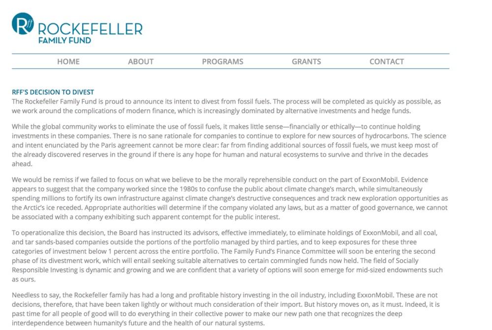 La famiglia Rockefeller: la storia va avanti, e' tempo di lasciare le fonti fossili sottoterra