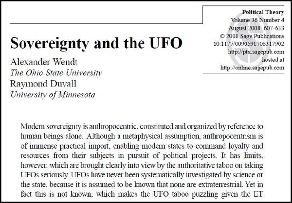 """13-Lo studio """"La sovranità e gli UFO"""" di due politologi USA del 2008"""