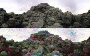 Un'immagine fotografica e la sua elaborazione con Deep Dream (Cortesia Google)