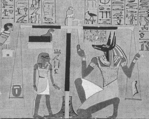 Papiro di Ani ( Tav. I, British Museum di Londra). Partic. giudizio di Ani